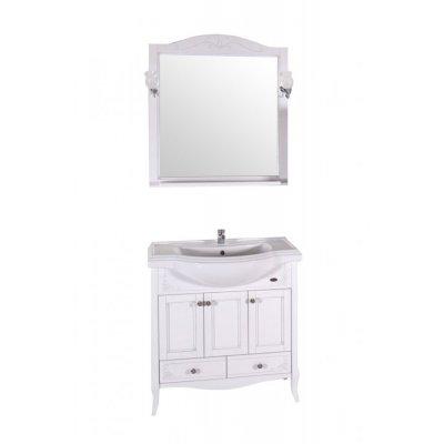 Комплект мебели ASB-Woodline Салерно 80 белая, патина серебро