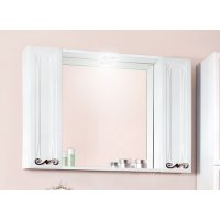 Зеркало Бриклаер Адель 105 белый глянец с двумя шкафчиками