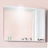 Зеркало Бриклаер Адель 85 белый глянец со шкафчиком
