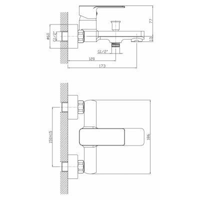Смеситель 1 Orange Plito M16-100cr для ванны с душем-1