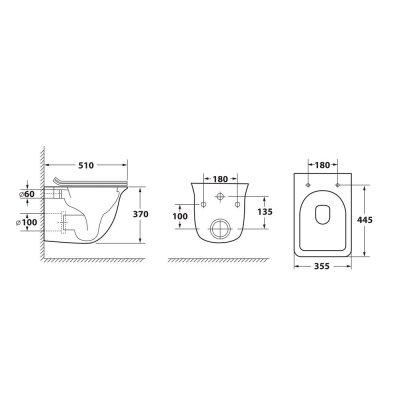 Унитаз подвесной безободковый OWL Eter Ruta-H с сиденьем DP микролифт (OWLT190203)-3