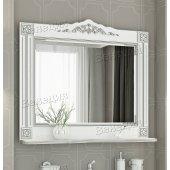 Зеркало Венеция Аврора 105 белый с патиной серебро