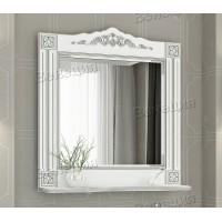 Зеркало Венеция Аврора 85 белый с патиной серебро