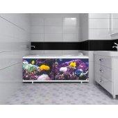 Экран под ванну раздвижной Л Рыбы у рифа 148 см