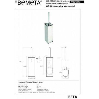 Туалетная щетка с держателем BEMETA PLAZA 118213092-1