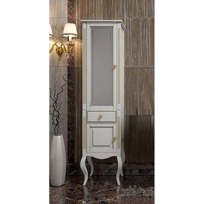 Шкаф-Пенал для ванной комнаты Opadiris Лаура 44 L белый золотая патина