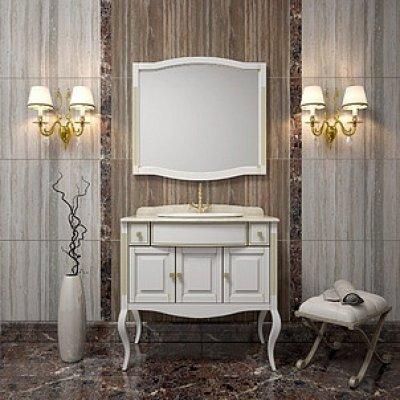 Комплект мебели для ванной Opadiris Лаура 100 белая с патиной