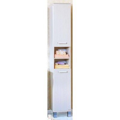 Шкаф-Пенал для ванной комнаты Бриклаер Карибы 34 с бельевой корзиной светлая лиственница