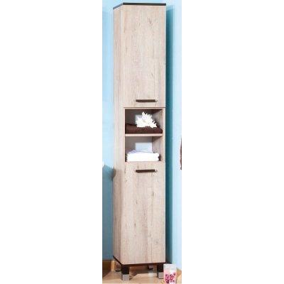 Шкаф-Пенал для ванной комнаты Бриклаер Карибы 34 с бельевой корзиной Дуб кантри/Венге