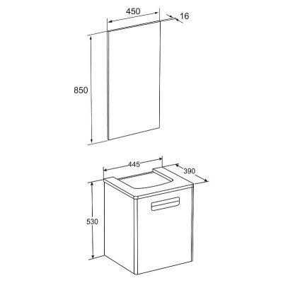 Комплект мебели для ванной Roca Gap 45 белый-4