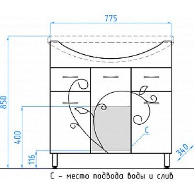 Тумба с раковиной Style Line Эко Фьюжн №26 80 белая-1